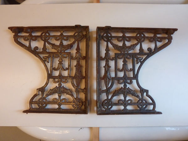 Heavy Duty Cast Iron Throne Seat Brackets C.1890