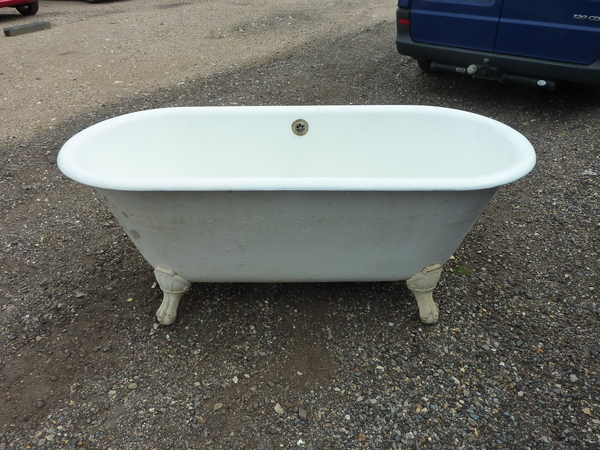 Large French Double-Ended Cast Iron Bath with Art Nouveau Feet C.1910