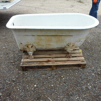 French Single Ended Cast Iron Roll Top Bath C.1880