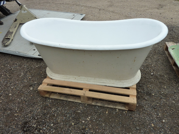 "French Cast Iron ""Bateau"" Bath on Large Plinth C.1890"