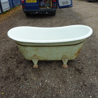 Rare French Cast Iron Bateau Bath on Feet C.1880