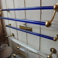 Antique Blue Glass Double Towel Rail C.1930