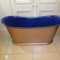 Indigo Blue Enamelled Cast Iron French Bateau Bath C.1890