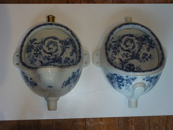 Victorian Urinal with Blue Transfers (No.1) C.1890