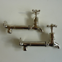 Edwardian Bib Taps with Extensions and Original Wall-Mounts in Polished Nickel Plate C.1920