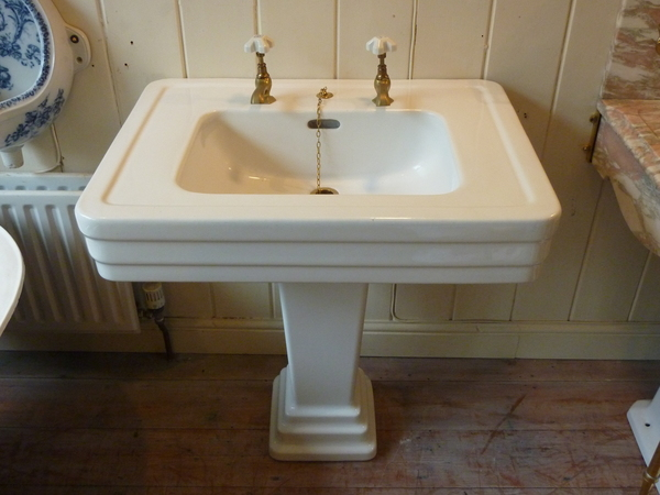 Art Deco French Console Basin & Pedestal C.1930