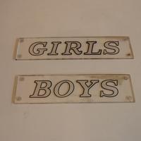 Pair of Perspex Bathroom Signs C.1950