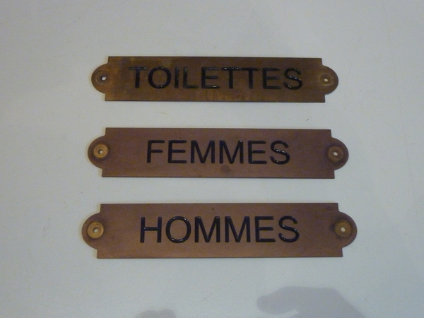 Set of 3 French Brass Bathroom Signs C.1970