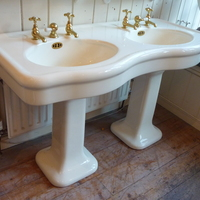 Bow-Fronted Double Basin on 2 Pedestals by Porcher, Paris c.1900