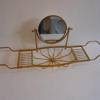 Polished Brass Bath Bridge with 2-sided Mirror C.1950