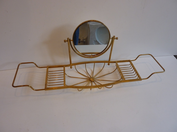 Polished Brass Bath Bridge with 2-sided Mirror C.1950