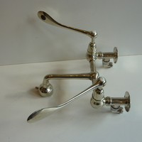 Silver Brass Wall-Fixing Kitchen Mixer C.1920