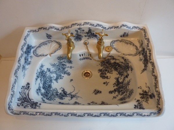 """VICTRION"" Large Victorian Blue Transfer Basin by Baxendale & Co. C.1890"