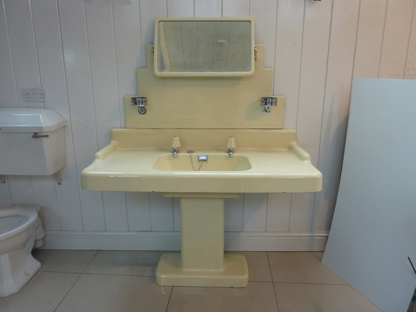 Art Deco Cast Iron Basin, Pedestal and Mirrored Splash Back C.1930