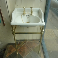 Small Cloakroom Basin on Brass Stand by J Bolding C.1920
