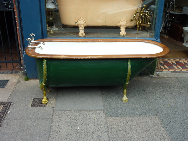 Vintage Sheet Metal Bath with Mahogany Roll Edge C.1850