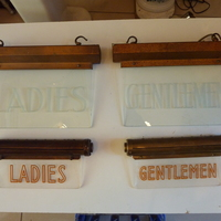 2 Pairs of Vintage Electric Illuminated Bathroom Signs from Hotels/Cinemas