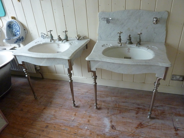"A Pair of ""SIMPLEX"" Carrara Marble Basins by J Bolding C.1900"