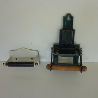 2 Vintage Enamel Roll Holders