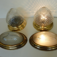 2 Pairs of Edwardian Flush-Mounted Cut Glass Bathroom Lights C.1920