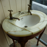 Small Freestanding Jade Onyx Vanity Topped Basin by Shanks C.1920