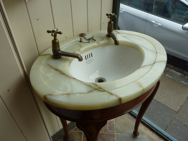 Freestanding Jade Onyx Vanity Topped Basin by Shanks C.1920