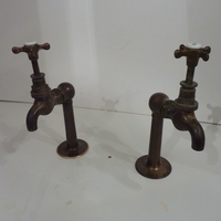 Bronze Kitchen Sink Bib Taps on Upstands C.1890