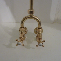 "Edwardian ""Wishbone"" Wall-Fixing Shower in Polished Brass"