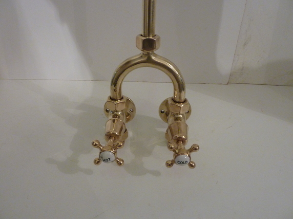 "Edwardian ""Wishbone"" Wall-Fixing Shower in Polished Brass"