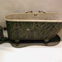 "Rare and early ""Gusher or Rager"" portable Bath by Deane & Co. London Bridge Rd C.1840"