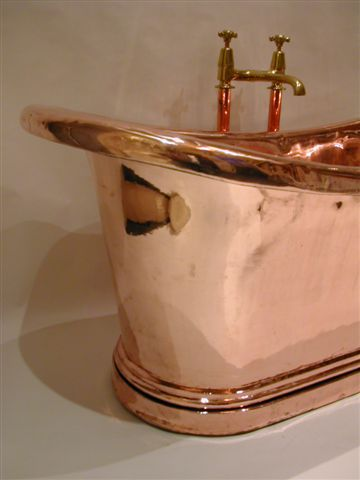 French Copper Bateau Bath with full roll edge and extra plinth C.19th.