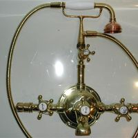 Large French Bath/Shower Mixer with 5 spoked tap handles C.1900