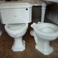 Royal Doulton P-Trap Outlet WC with matching Low-Level Cistern C.1930. Choice of Flush Pipes and Flush Handles