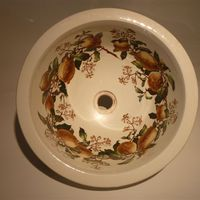 "Polychrome Transfer Plug Basin ""Lemon Tree"" C.1880"