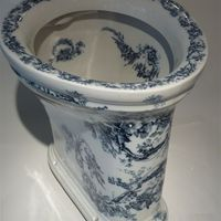 Victorian Blue Transfer WC C.1890 No name, just 'chicken' trademark. London Outlet