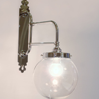 "Double Bar Wall Light with Clear Glass 6"" Globe"