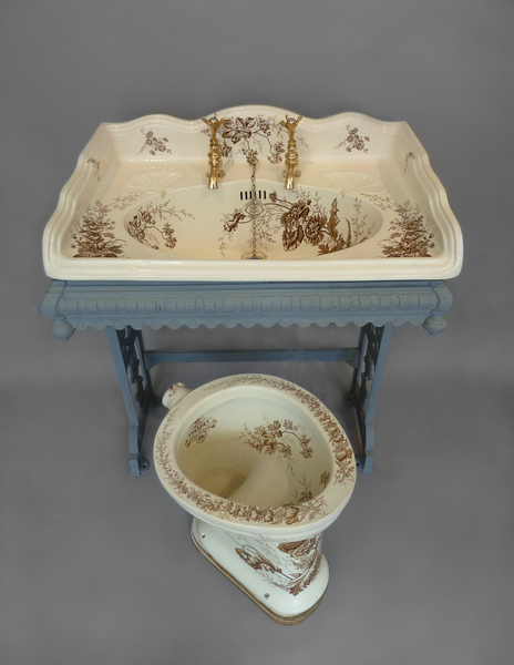 Large Victorian Basin and matching WC with unusual Brown Transfers C.1890