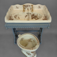 WC with Brown Transfers C.1890 and matching Large Victorian Basin