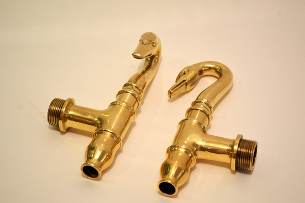 Pair of Early C.19th French Swan Bath Taps