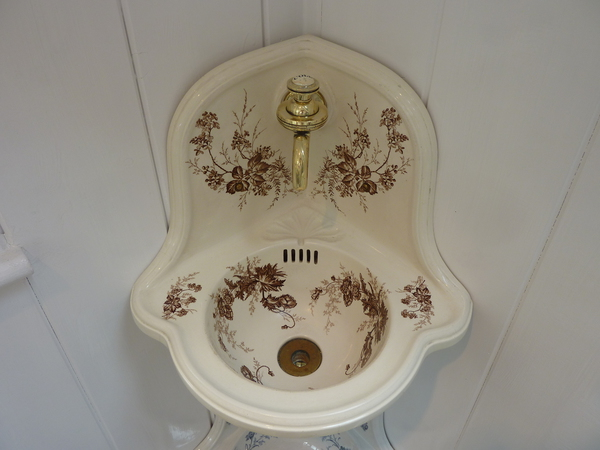 Victorian Corner Sink : Small Victorian Corner Basin with Brown Floral Transfers, Antique ...