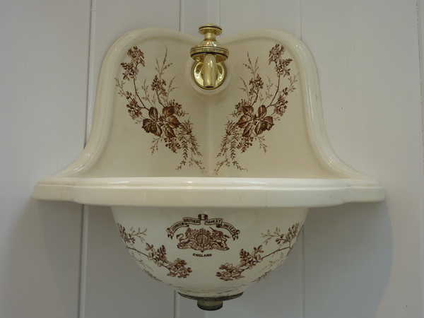 Small Victorian Corner Basin With Brown Floral Transfers