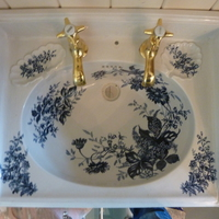 Blue Floral Transfer Basin on Cast Iron Frame C.1900