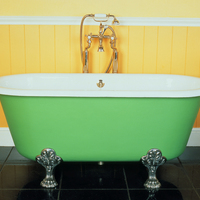 French Double-Ended Bath with Mixer Tap on Standpipes c.1880