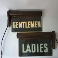 Ladies & Gentlemen Illuminated Bathroom Signs C.1920