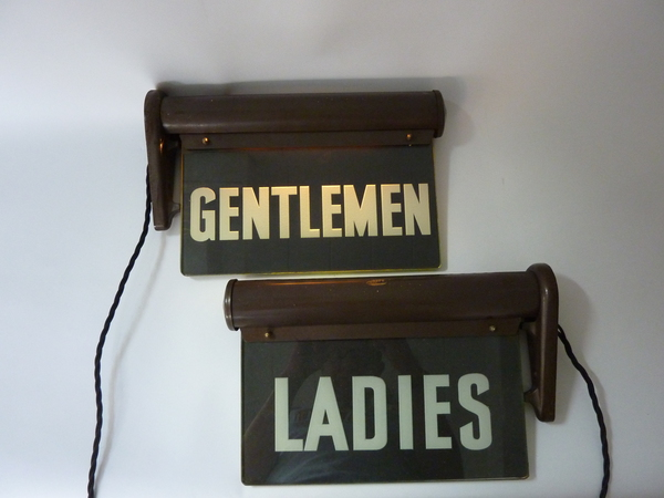 Ladies & Gentlemen Illuminated Bathroom Signs C.1920