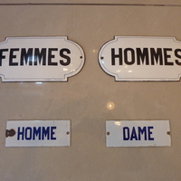 French Enamel Lavatory Signs C. 1900