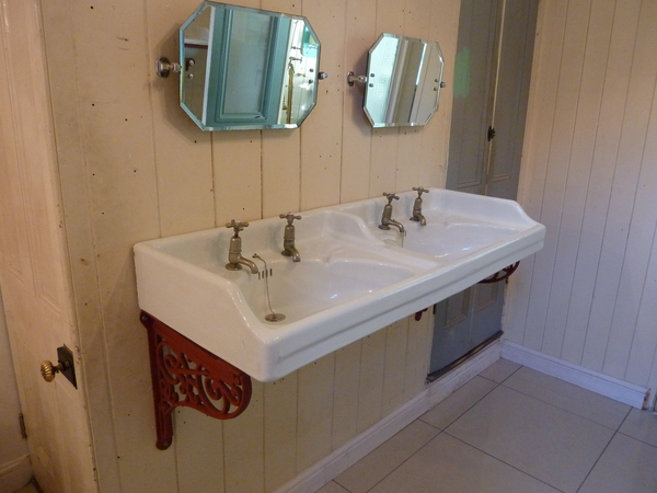 Fireclay Double Basin with Cast Iron Brackets C.1900