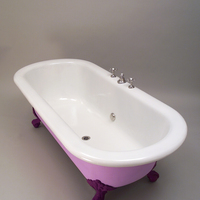 Large American Double-Ended Bath with Integral Mixer Tap and Plunger Waste c.1920