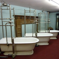 Pair of Glass-Panelled Shower Baths C.1920