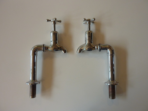 "Re-Chromed 3/4"" Bib Taps on Pedestals C.1930"